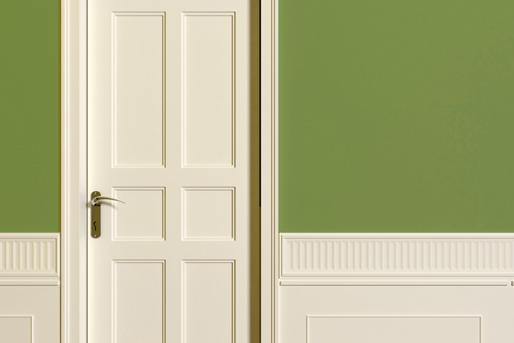 Flur, grüne Wand