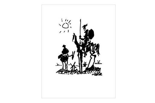 Zeichnung Don Quixote von Picasso als Kunstdruck