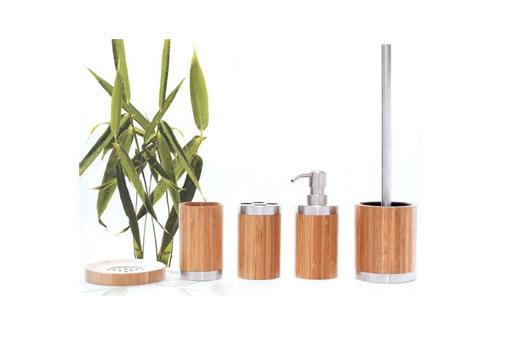 Bambus, Seifenspender, WC Bürste, Seifenschale, Zahnbürstenhalter