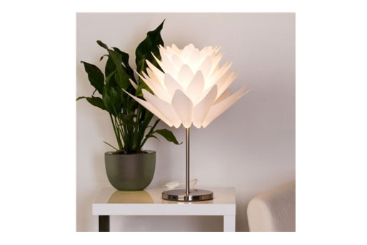 tischleuchten f r den essbereich lampen aus glas keramik oder rattan. Black Bedroom Furniture Sets. Home Design Ideas