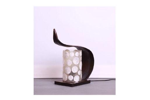 Tischleuchte Perlmutt, Kokos, Holz