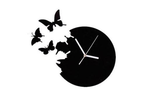 Uhr Schmetterlinge schwarz