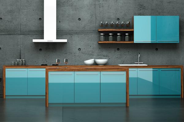 Küchenzeile, modern in Blau