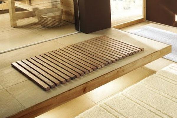 Badezimmer, Holzmatte, Holz, Teppich