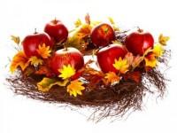 Herbstkranz auf Weinrebe
