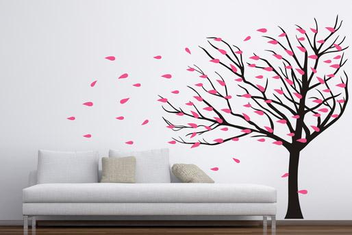 Wandtattoo Baum mit rosa Blättern