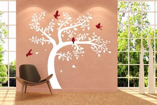 Wandtattoo Baum weiß und Vögel