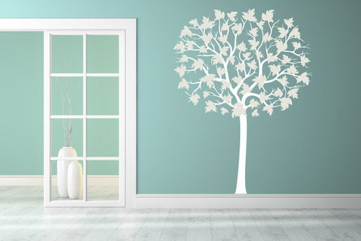 Wandtattoo Baum weiß groß