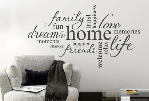 Gibts auch auf Englisch - die Wandtattoo Wortwolke Home