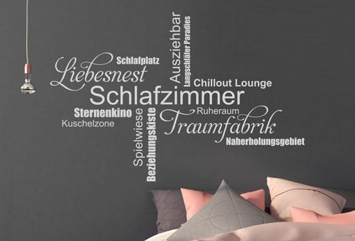 Schlafzimmer, Liebesnest, Traumfabrik - das sind nur einige Begriffe der Wandtattoo Wortwolke